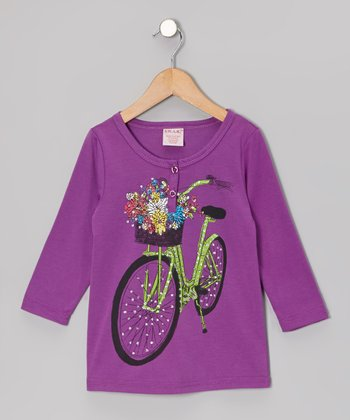Purple Shimmer Bike Henley - Girls
