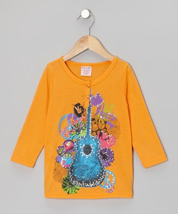 Orange Shimmer Guitar Henley - Girls