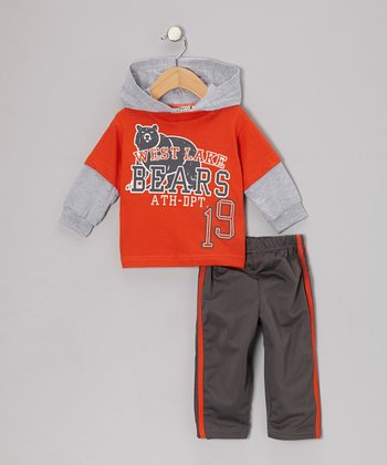 Orange 'Bears' Layered Hoodie & Track Pants - Infant