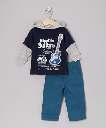 Navy Guitar Layered Hoodie & Pants - Infant & Toddler