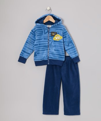 Blue Fleece Zip-Up Hoodie & Pants - Infant, Toddler & Boys