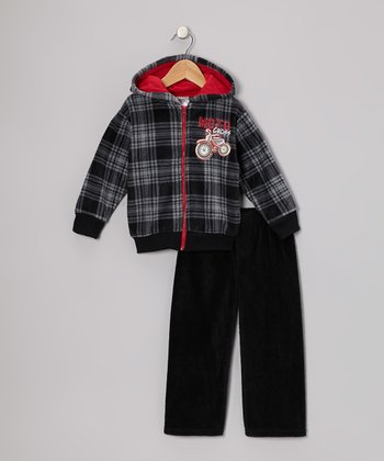 Black 'Motocross' Fleece Zip-Up Hoodie & Pants - Toddler & Boys