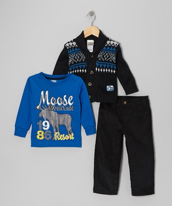 Black Fair Isle Cardigan Set - Infant