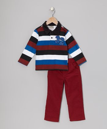 Rust Copper Stripe Polo & Pants - Infant