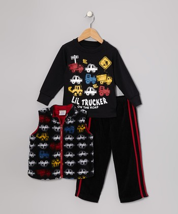 Black Truck Vest Set - Infant & Toddler