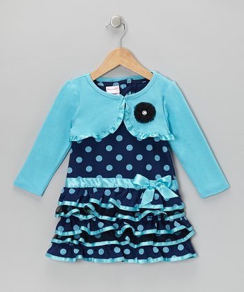 Aqua Polka Dot Dress & Shrug - Girls
