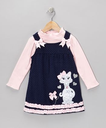 Pink Mock Neck Top & Navy Pin Dot Kitty Dress - Infant & Toddler