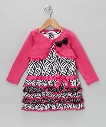 Hot Pink Zebra Drop-Waist Dress & Shrug - Infant & Toddler