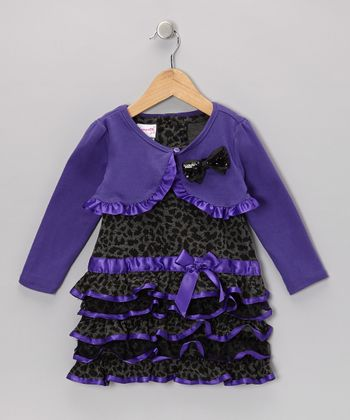 Purple Cheetah Drop-Waist Dress & Shrug - Toddler