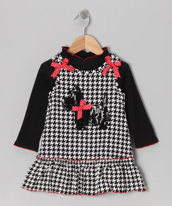 Black Mock Neck Top & Scottie Dress - Infant