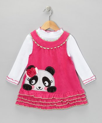 White Mock Neck Top & Pink Panda Dress - Infant