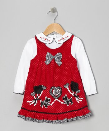 White Top & Red Pin Dot Scottie Dress - Infant