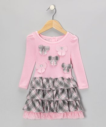 Pink Plaid Bow Ruffle Dress - Infant & Toddler