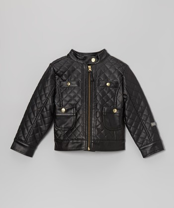 YMI Kids Black Quilted Faux Leather Zip-Up Jacket - Toddler & Girls