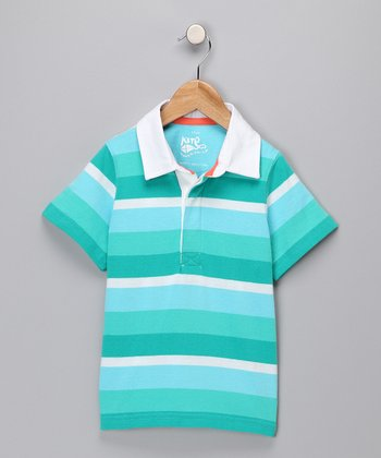 Aqua & Green Stripe Organic Polo - Toddler & Boys