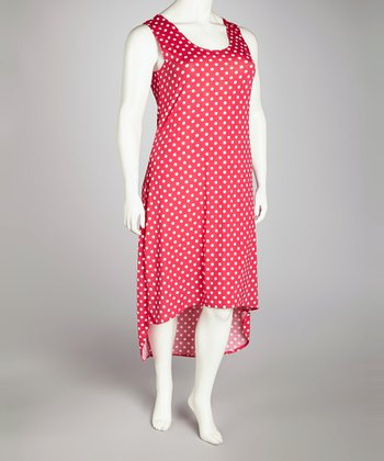 Fuchsia Polka Dot Hi-Low Dress - Plus