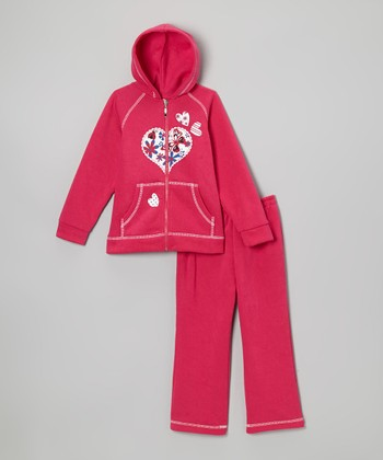 Fuchsia Heart Zip-Up Hoodie & Sweatpants - Infant & Toddler