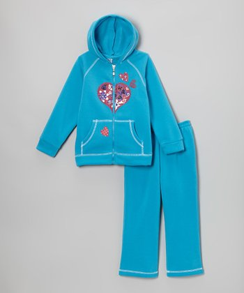 Turquoise Heart Zip-Up Hoodie & Sweatpants - Infant & Toddler