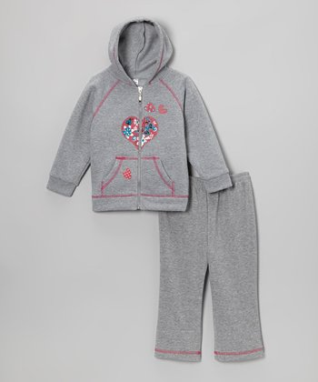 Gray Heart Zip-Up Hoodie & Sweatpants - Infant