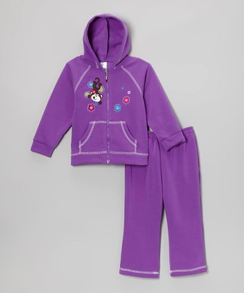 Light Purple Monkey Zip-Up Hoodie & Sweatpants - Infant