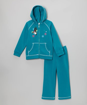 Teal Monkey Zip-Up Hoodie & Sweatpants - Infant & Toddler