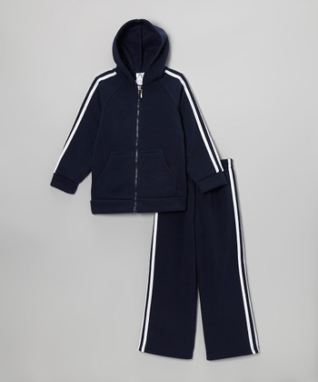 Navy Blue & White Zip-Up Hoodie & Sweatpants - Kids