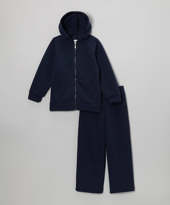 Navy Blue Zip-Up Hoodie & Sweatpants - Kids