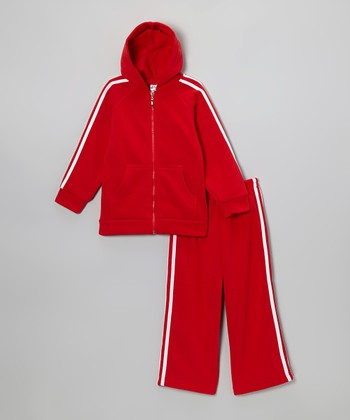 Red & White Zip-Up Hoodie & Sweatpants - Kids