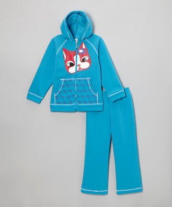 Turquoise Critter Zip-Up Hoodie & Sweatpants - Girls