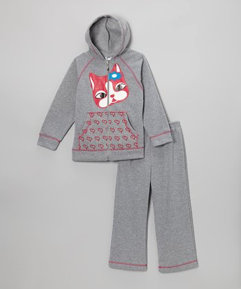 Gray Critter Zip-Up Hoodie & Sweatpants - Girls