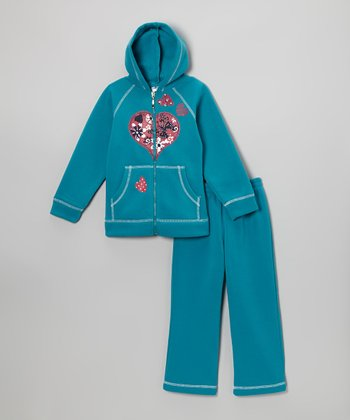Teal Heart Zip-Up Hoodie & Sweatpants - Girls