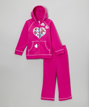 Raspberry Heart Zip-Up Hoodie & Sweatpants - Girls