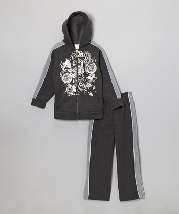 Charcoal Motorcycle Zip-Up Hoodie & Sweatpants - Boys