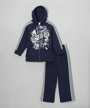 Navy Motorcycle Zip-Up Hoodie & Sweatpants - Boys