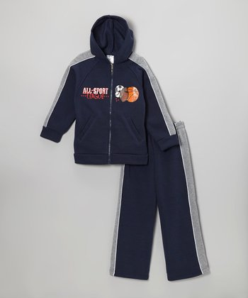 Navy 'All-Sport League' Zip-Up Hoodie & Sweatpants - Boys