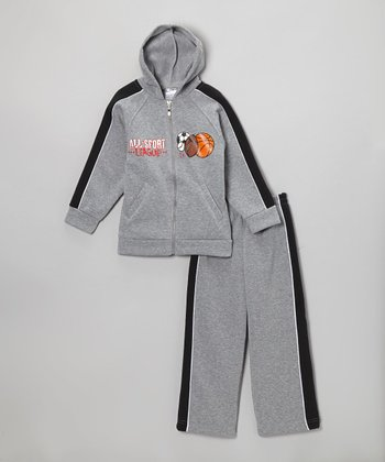 Gray 'All-Sport League' Zip-Up Hoodie & Sweatpants - Boys