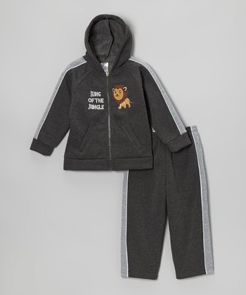 Charcoal Lion Zip-Up Hoodie & Sweatpants - Toddler