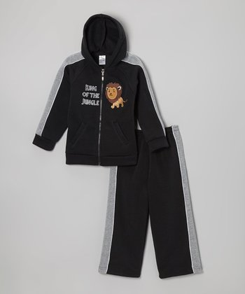 Black Lion Zip-Up Hoodie & Sweatpants - Infant & Toddler