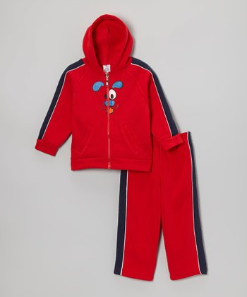 Red Dog Zip-Up Hoodie & Sweatpants - Infant