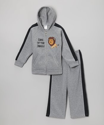 Gray Lion Zip-Up Hoodie & Sweatpants - Infant & Toddler