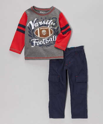 Gray 'Varsity Football' Tee & Pants - Toddler