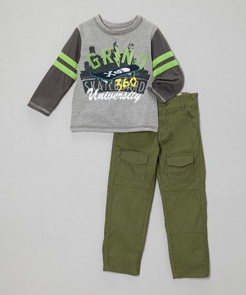 Green 'Grind University' Tee & Pants - Boys
