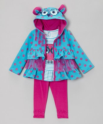 Turquoise Ruffle Tiered Zip-Up Hoodie Set - Infant & Toddler