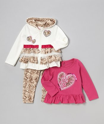 White Heart Ruffle Tiered Zip-Up Hoodie Set - Infant & Toddler