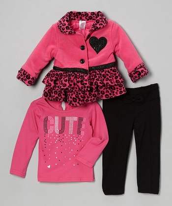 Pink Cheetah Ruffle Jacket Set - Infant