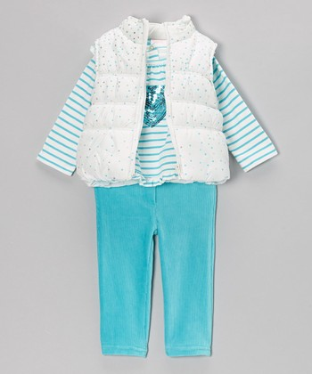 Turquoise Dot Puffer Vest Set - Infant