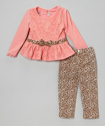 Pink Lace Ruffle Top & Leopard Leggings - Toddler