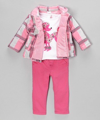 Pink Plaid Jacket Set - Infant