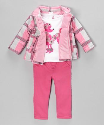 Pink Plaid Jacket Set - Toddler & Girls
