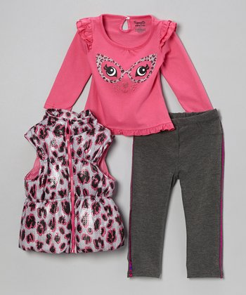 Pink Cheetah Puffer Vest Set - Infant